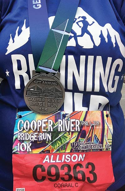 Allison Macfie participated in the 2019 Cooper River Bridge Run as a part of the Running Wild for Wishes team.