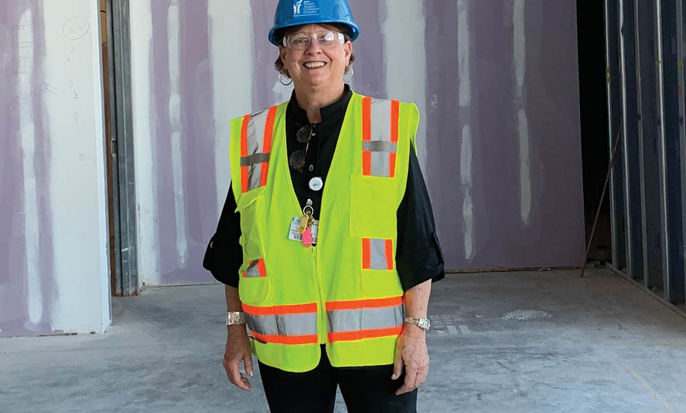 Sue Lindstrom on site of the new MUSC Children's Hospital.