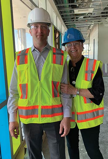 Sue Lindstrom with Senior Project Manager of the MUSC Children's Hospital, John Sion.