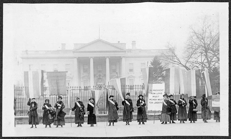 Demonstrations supporting women's suffrage took place in 1917 in front of the White House.