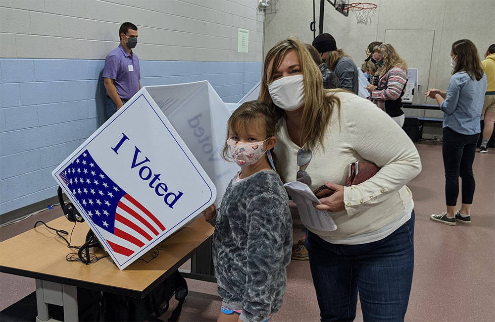 Kristie Rasheed voted in the 2020 US election in Mount Pleasant, SC and brought her daughter along for the experience.