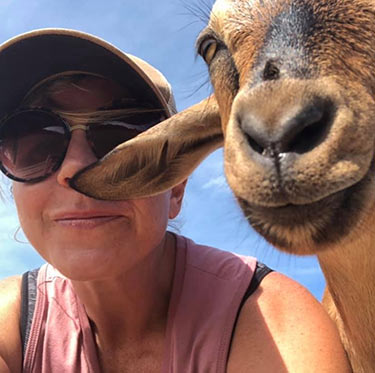 Missy Farkouh finds joy spending time with her goats at The Goatery at Kiawah River.