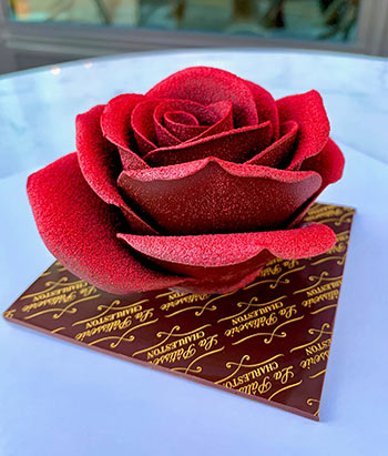 A handcrafted rose from La Patisserie.